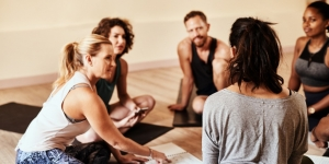 friends who do yoga together grow together picture id1204500575